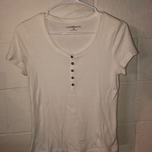 Croft and Barrow white button up tee
